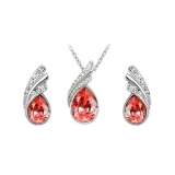 Swarovski Elements souprava Tear Drop Lotus Red SWS698