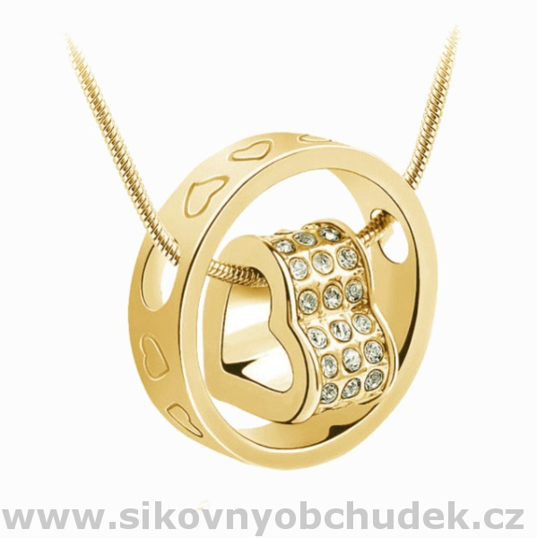 ef3f46ee4 Dámský náhrdelník Swarovski Elements srdce v prstenu SWN106