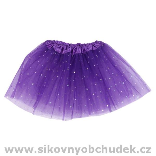 692b36dee62 Tylová sukně fialová se třpytkami