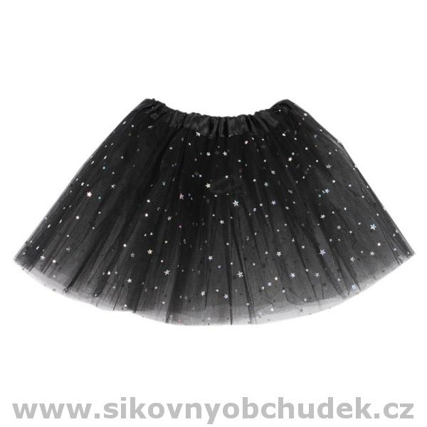 294c47ffb52e Dívčí tylová sukně černá se třpytkami