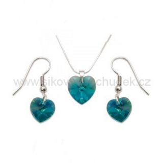 Set Swarovski Elements srdce blue zircon SWS117