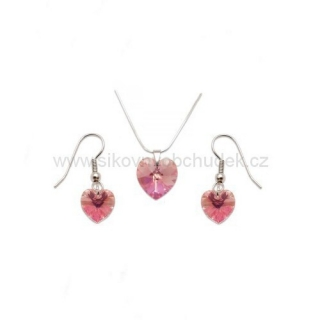 Set Swarovski Elements srdce light rose SWS119
