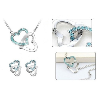 Souprava Swarovski El. double hearts sea blue SWS200