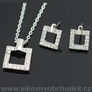 Trendy souprava Swarovski Elements Crystal Squares